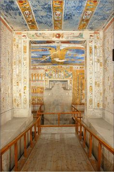 Tomb of Ramses IV.  Wonderful color and thousands of years old.  Image from the Theban Mapping Project.  We were there in March, 2012 and the handrail is gone and plexiglass sheets protect the walls.  But still marvelous.