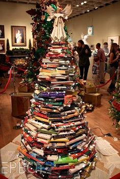 I love the book tree with a sheet music angel!