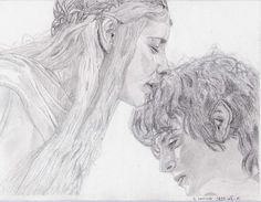 Dessin Le Seigneur des Anneaux (Galadriel & Frodon) the lord of the ring draw - Sabrina F.