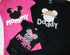 @Shannon McWhorter we need these! Minnie Mouse Shirts. Definitely making these for our first trip to Disneyland, minus the daddy shirt obviously.
