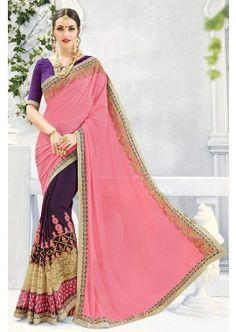 couleur rose clair georgette à georgette sari