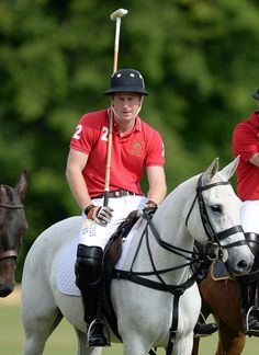 Prince Harry battles it out on the Army team against the Navy and helps his team win 7 - 4½.