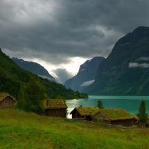 Grass roofed village, Loen, Norway