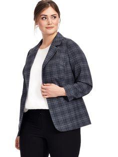 Yours Clothing | Grey Check Blazer | Gwynnie Bee
