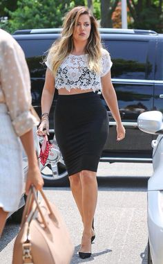 Khloe Kardashian in South Hampton NYC  love the lace crop top