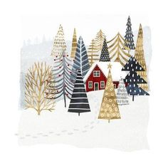 'Christmas Chalet I' Painting on Wrapped Canvas - Christmas Illustration - Illustration Inspiration, Illustration Noel, Winter Illustration, Christmas Illustration Design, Christmas Design, Christmas Art, Christmas Decorations, Christmas Graphics, Christmas Posters