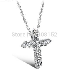 Find More Pendant Necklaces Information about Fashion Shiny Gems Cross Necklace, Gemmed Zircon White Gold (Platinum) Plated OL style Jewelry for friend for girls lovers gift,High Quality gold plated bangle jewelry,China gold prom jewelry sets Suppliers, Cheap jewelry headdress from Jewelryfy -Wholesaler on Aliexpress.com