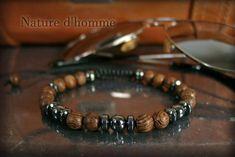 Braided bracelet wood and stone hematite Ref: Bracelets Fins, Braided Bracelets, Gemstone Bracelets, Mens Magnetic Bracelets, Bracelets For Men, Hematite Necklace, Men Necklace, Wood Bracelet, Stone Jewelry