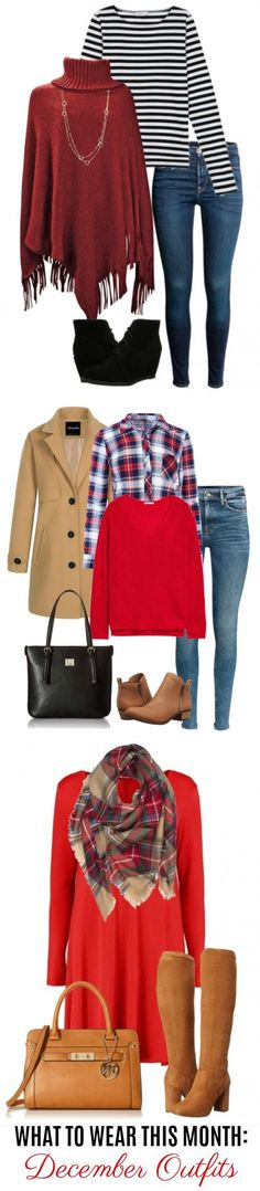 Welcome to the December edition of What to Wear This Month! You'll find 15 December outfit ideas perfect for your Holiday gatherings, get togethers and errands. Any of these would work great for your Christmas outfit too, whether you need to dress up or go casual. Click on over to see all 15 outfit ideas for December. #fallfashion #winterfashion #falloutfitideas #december #christmasoutfits