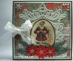Anja Zom kaartenblog: juli 2013 Vintage Christmas, Christmas Cards, Marianne Design, Picture Cards, Vintage Cards, Santa, Create, Pictures, Card Ideas