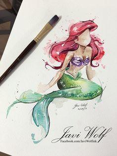 Watercolor Mermaid, Watercolor Drawing, Watercolor Paintings, Disney Drawings, Cute Drawings, Drawing Sketches, Little Mermaid Tattoos, The Little Mermaid, Disney Kunst