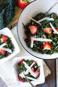 Kale Salad Recipe with Pecorino, Strawberries, Pine Nuts