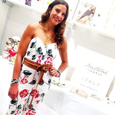 Natané with Kelsey, account executive at AccessoriesTheShow — Jacob K Javits Convention Center, New York – Arrow necklace yellow color. Natanè Arrow necklace. #necklace #collane #colors #Yellow #flower #woman #fashion #style #outfit #swarovski #jewel #bijoux #fiori #giallo #ametista #girl #natanè