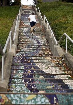 16th Avenue staircase: The 163 steps on the 16th Avenue staircase, seen from the bottom up, are  a work of art. The view from the top is a masterpiece of nature. Photo: Siana Hristova, The Chronicle / SF