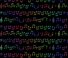 Rainbow Music Black fabric by suddenlytoaster on Spoonflower - custom fabric