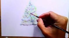 How to Paint Realistic Christmas Tree with Watercolor Pencils, Step By Step, Narrated