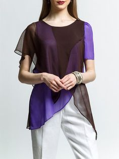 Shop Blouses - Elegant Paneled Linen Short Sleeve Asymmetrical Blouse online. Discover unique designers fashion at StyleWe.com.