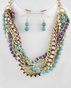 Gold Tone / Turquoise & Purple / Stone & Cord / Purple Acrylic & Clear Rhinestone / Lead Compliant / Chain / Multi Strand / Necklace & Fish Hook Earring Set