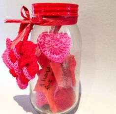Crochet jar of hearts ideal birthday or Valentine present idea