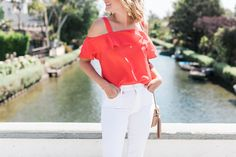 Jcrew red ruffle cold shoulder top @thestyleeditrix