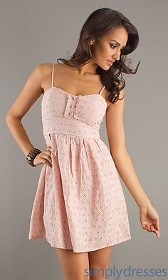 Short Spaghetti Strap Pink Dress at SimplyDresses.com $19.99 http://www.simplydresses.com/shop/viewitem-PD840131