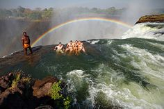 I wish we could have gone up here when we visited! Devil's Pool at the top of the Victoria Falls, in southern Africa between the countries of Zambia and Zimbabwe.