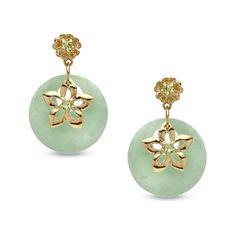 Green Jade + Peridot Flower Drop Earrings