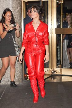 768c4338c7a Red leather jumpsuit and slouchy boots Leather Jumpsuit