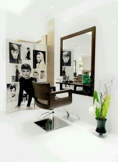 home salon design. Find this Pin and more on renovating page  Home hair salon Love the pattern walls possible design Beauty Salon