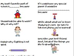 I Love 1st Grade: Writing Prompts Labels
