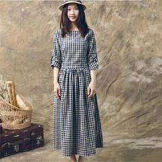 Autumn Women Cotton Linen Plaid Dress Loose Long Sleeve Vintage Mid calf Dress For Mori Girl 10321-in Dresses from Women's Clothing & Accessories on Aliexpress.com | Alibaba Group