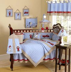 Vintage Antique Fire Truck Baby Bedding - 9pc Boy Nursery Crib Set