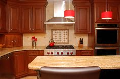 cherry wood kitchen in Bryn Mawr, PA by down2earth interior design.   www.down2earthdesign.com