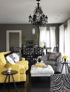 Colors Grey Walls Black Chandelier Yellow Couch But No Animal Prints For Me Connie Etter And Decor