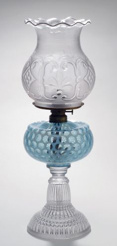 Kerosene Lamp, with Burner and Shade, 1889, made by Hobbs, Brockunier and Company, Philadelphia Museum of Art