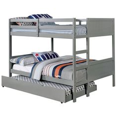 Annette collection gray finish wood full over full paneled headboards... ($303) via Polyvore featuring home, furniture, beds, wooden trundle bed, wood trundle bed, gray trundle bed, grey wood headboard and wood bed
