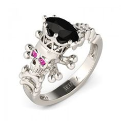 3.0 CT Black Diamond with Amaranth Sidestone Sterling Silver Designer Skull Engagement Ring