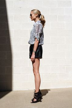 Fall Outfit black and white snake top black faux leather shorts black lace up heels