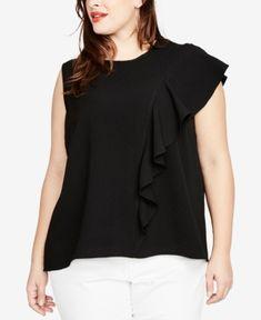 Rachel Rachel Roy Trendy Plus Size Ruffled Top, Created for Macy's - Black Ruffle Top, Ruffle Blouse, Crepe Top, Trendy Plus Size, Rachel Rachel, Black Tops, How To Wear, Shopping, Clothes