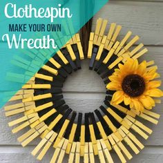 Here's how to make a sunflower clothespin wreath or any kind of clothespin wreath! It's simple, easy and pretty inexpensive. And looks adorable! Easy Fall Crafts, Summer Crafts, Kids Crafts, Wood Crafts, Burlap Flower Wreaths, Sunflower Wreaths, Make Your Own Wreath, How To Make Wreaths, Wreath Crafts