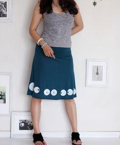 Handmade Knee Length Teal Blue Skirt . A-line Applique skirt . Summer Fashion -Super Cute Big Eyes-size Large. $54.00, via Etsy.