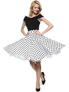 Maggie Tang 1950s Vintage Retro Polka Dots Swing Rockabilly Casual Party Skirts at Amazon Women's Clothing store: