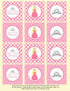 Pretty Pink Princess party!  DIY printables for cupcake toppers, tags & stickers!  Love! Printable 1st Birthday Princess theme DIY by sunshinetulipdesign, $6.00