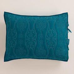 Ink Blue and Aqua Simone Pillow Shams at Cost Plus World Market >> #WorldMarket Bed Makeover, Home Decor, Tips & Tricks