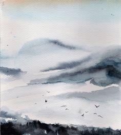 Landscape Watercolour Original Watercolor Painting by CanotStop