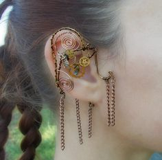 Copper and Gears Steampunk Wire Wrap Ear Wrap by MelsMakeBelieve, $34.00