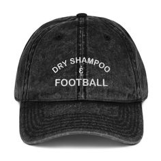 Dry Shampoo and Football Vintage Hat - The Stadium Chic. Black, hat, vintage hat, grungee, dry shampool, women, feminine, football, American football, T-shirt, tee, graphic tee, football mom, gift, NFL, trendy, chic. Funny Hats, Football Outfits, Dad Caps, Vintage Cotton, Hats For Men, Knitted Hats, Baseball Hats, Antique Brass, Profile