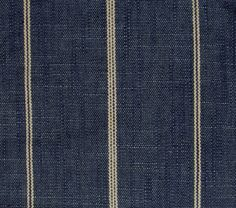 tiny cream/ecru/blue stripes, indigo/denim/blue background 68% cotton 22 rayon 9% linen and a bit of poly 54 wide 0 vert. repeat 2.5 between