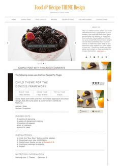 food recipe web design theme image - Designed Specifically for Food & Recipe Blog Writers