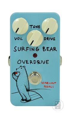 NINEVOLT PEDALS Surfing Bear Overdrive – Surfing bears just love Overdrive, and this one is no exception! The Bear's deep love of overdrive has led to the creation of this pedal, which is based on his personal 808, but with a few tweaks and a greater range of tone to suit his personal palette. If you're looking for the 808 with more this could be your tone nirvana! Drive, Tone, and Volume controls True bypass 9V battery or standard 9VDC negative tip adaptor